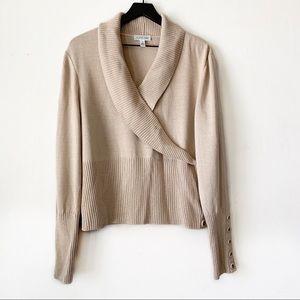 St. John Sport | Tan Shawl Collar Pullover Sweater